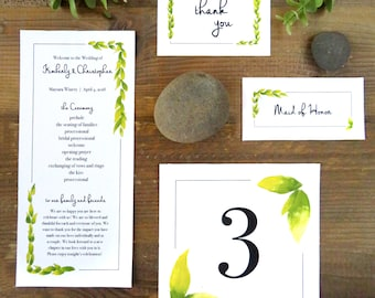 Wedding Extension Set, Programs, Name cards, Thank You's, and Table Number's