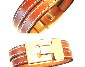 Bracelet leather camel sewing camel gold plated clasp