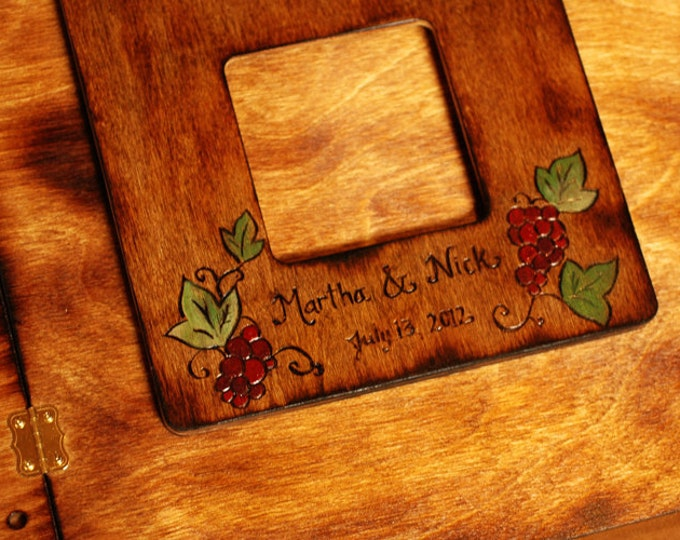 Rustic Wedding Album or Guest Book with Personalized burned engraving and vineyard theme