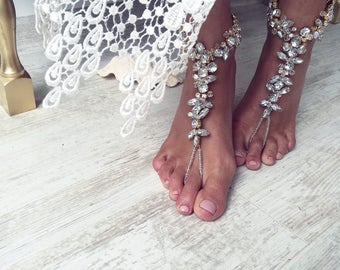 Beach Wedding Barefoot SandalS,Bridal Swarovski Crystal Shoes,Boho Slave Anklet,Wedding Anklet,Bridesmaid Accessories,KAMINI design