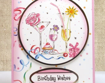 Birthday Wishes Card- Birthday Card- Feminine Birthday- Cards for Her- Cocktails Card- Friend Birthday