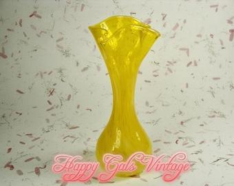 Yellow Glass Vase, Blown Glass Yellow Vase, Handmade Yellow Glass Vase, Vintage Blown Glass Yellow Vase. Bright Yellow Gift for Housewarming