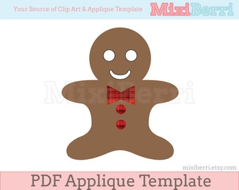 Gingerbread Applique Template PDF Instant Download