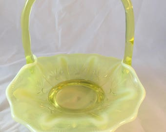 Fenton Vintage Yellow Topaz opalescent Vaseline Glass with Cactus Pattern