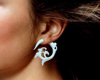 Fake Gauges, Tribal Jewelry, Handmade, Split, Cheaters, Plug, Organic, Eco-Frendly, White Bone Earrings, Elvira Curls - B17
