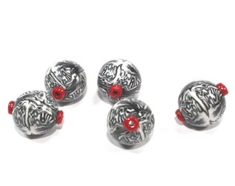Polymer Clay round beads in black, white, greys and red touch, unique pattern, set of 5 beads for Jewelry making