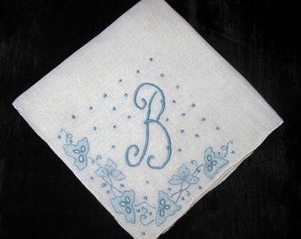 Something blue for bride handkerchiefs, Initial Handkerchief, Monogrammed B M L J P F K A or R Letter Hankies