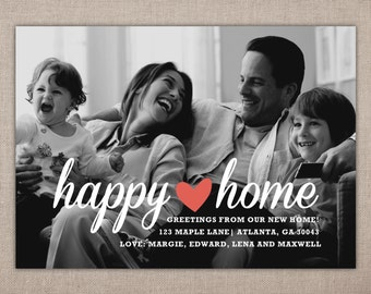 HAPPY HOME - Moving Announcement Card, New Home Notification with Family Photo, Modern Address Change Printable, New Home Cards, We've Moved