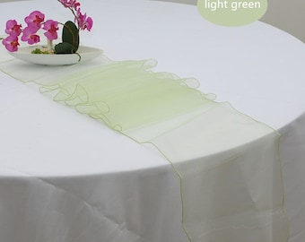10x Light Green Organza Table Runners Wedding Banquet Ceremony Feast Birthday Anniversary Sheer Chair Sashes Party Venue Table Decorations
