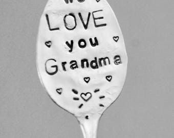 WE LOVE You GRANDMA stamped Iced Tea Spoon with Hearts // Garden Marker Art Sign vintage silver plate great for your Flower Pots or Garden