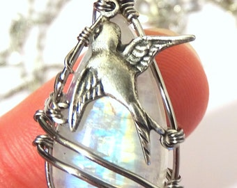 Necklace Rainbow Moonstone wire wrapped with bird