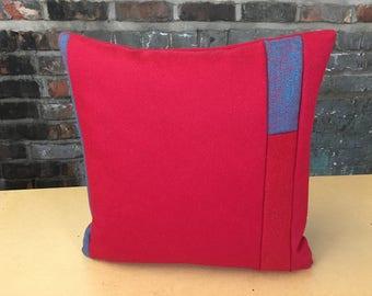 Wool Colour Block Cushion