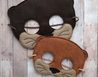 Otter Felt Mask in 2 Sizes, Elastic Back, Brown or Copper Acrylic Felt w/ Embroidery, Halloween Costume Mask, Animal Mask, Photo Booth Prop