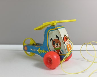 Vintage Fisher Price Mini-Copter, 1970 - #448 Fisher Price toys - Vintage Fisher Price helicopter - Retro toys