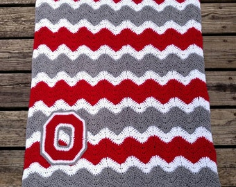 Ohio State Crochet Chevron Blanket with Crocheted Block O - OSU Ripple Afghan - Ohio State Buckeyes Zig Zag Throw - Several Sizes Available