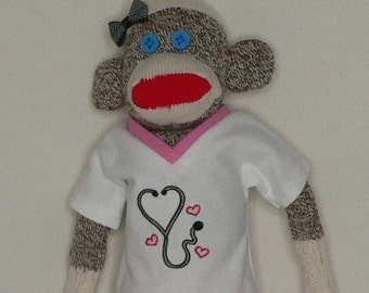 "Nurse Sock Monkey, Cotton Flannel Scrubs, 18"" Tall, Rockford Red Heel Socks, Handmade"