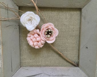 Felt Floral Wall Hanging Pink and White