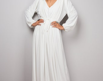 Off White dress, long off white dress, maxi dress with long sleeves, white dress with v neckline : Funky Elegant No.22s