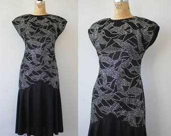 vintage 1980s dress / 80s LBD  / 1980s little black dress / 80s silver glitter cocktail dress / 80s party dress / 80s does 20s dress / MED