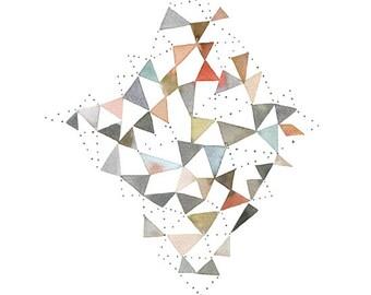 Original geometric watercolor painting, Minimal geometric, Diamond shape art, Abstract, Contemporary art, Home decor, Wall Art, Unique art