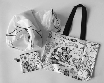 Black&White Edition: Big Zero Waste Shopping Kit / 5 Zero Waste Shopping Bags and Shopper / 5 Zero Waste Shopping Bags Pouch and Bag