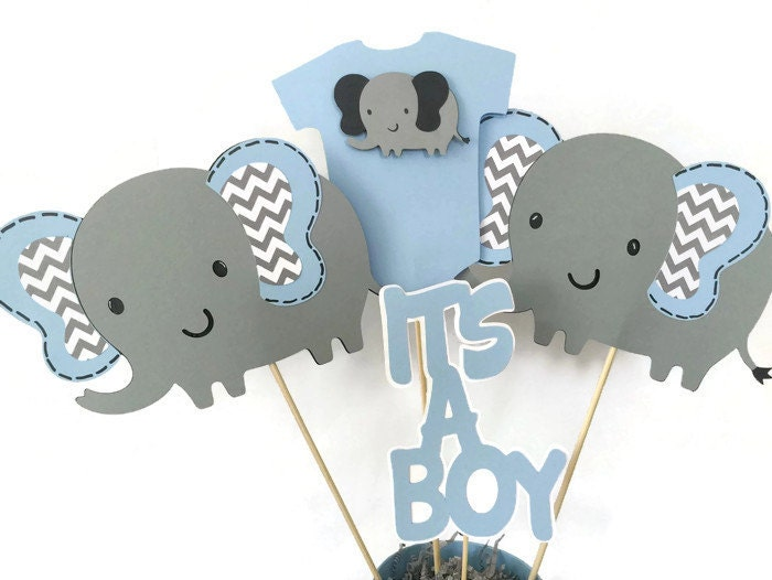 Designer Baby Shower Decorations Elephant Baby Shower Centerpiece In Blue  And Gray Elephant Theme 64