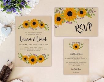 Sunflower wreath wedding invitation set printed on kraft cardstock | Kraft wedding invitations | Rustic wedding invites