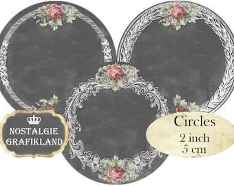 Frames Chalkboard Mirror Ephemera Ornaments Circles 2 inch Instant Download printable digital collage sheet C285