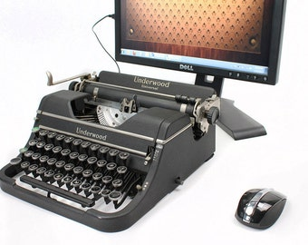 USB Typewriter Computer Keyboard -- Charcoal Underwood Universal