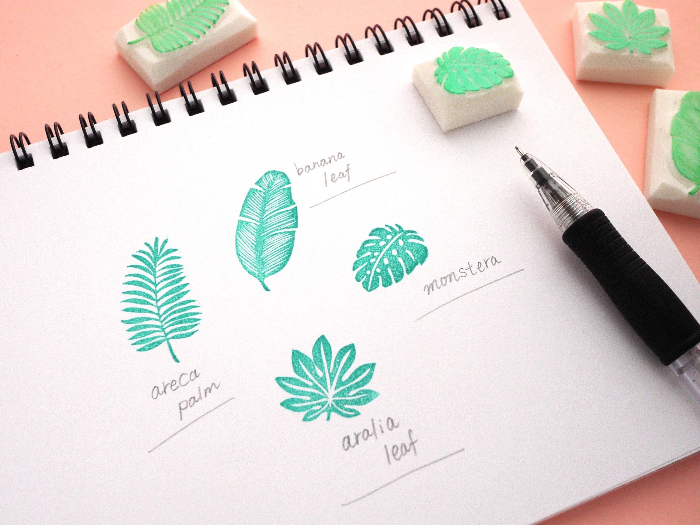 Tropical leaves, Rubber stamp set, Wedding invitations, Japanese ...