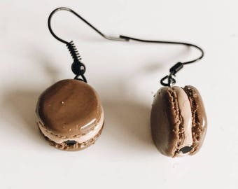 Kawaii Macaron Earrings / Small Food Earrings / Macaron Earrings / Handmade Macaron Dangle Earrings / Chocolate Macaron Studs