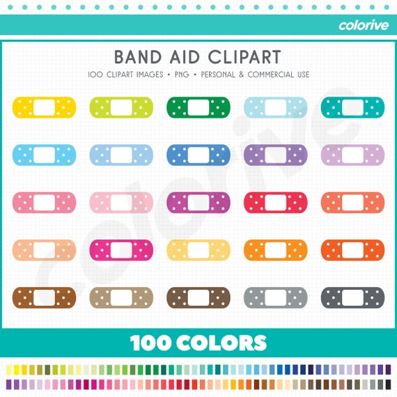 Band aid clipart 100 rainbow colors medical bandaid bandage nurse doctor heal png illustration planner stickers clip art set
