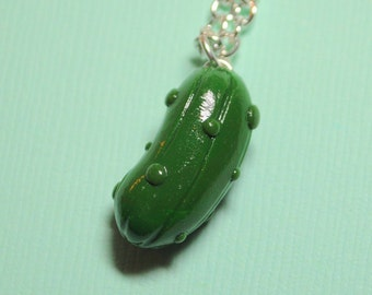 Kawaii Pickle Charm Necklace Dill Pickle, Pregnancy Gift, Pickle Gift, Goodluck Pickle