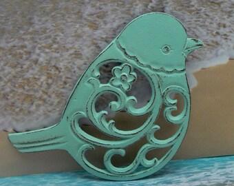 Bird Flower Cast Iron Trivet Hot Plate Beach Light Blue Cottage Shabby Elegance Ornate Swirly Chunky Bird Kitchen Country Chic Decor