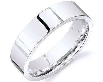 14k White Gold Band (6mm) / PLAIN / Polished Flat + Comfort Fit / Men's Women's Wedding Ring