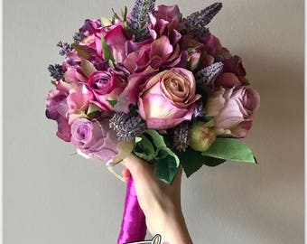 Roses & Hydrangea flowers wedding bouquet with matching boutonniere purple lavender