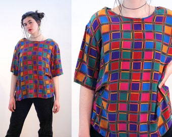 80s Geometric Silk Top XL, Squares Geo Print Boxy Blouse, Oversized Rainbow Windowpane Short Sleeve Pullover Shirt, Extra Large XXL
