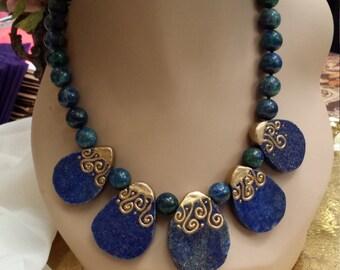 One strand blue lapiz drop necklace