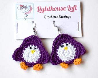 Purple Penguin Crocheted Earrings