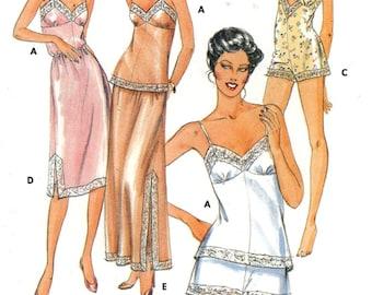 80s Camisole panties bodysuit half slip vintage lingerie Butterick 4020 sewing pattern Sz 10