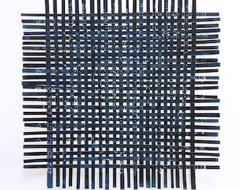 Blue Paper Weaving- 13x13- Original Woven Art- Abstract Constellation- Indigo Blue