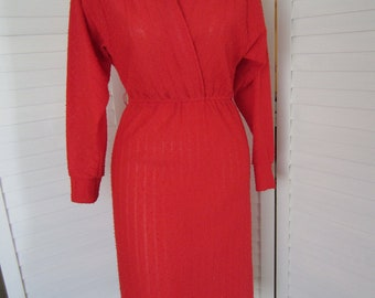 Dress, Red Knit with Dolman Sleeves and Wrap Front - Size S