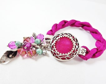 Hot Pink Fuchsia Exotic Boho Gypsy Statement Adjustable Bracelet - Turkish Silk Stackable - Semi Precious Stone Glass Beads - Silver
