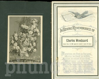 Memento Mori Antique Memorial Card Cabinet Photo of Funeral Flower Tribute for Charles Woodward