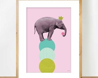 Elephant A4 Print, Scandinavian Wall Art, Animal Nursery Art, Baby Girl Gift, Children Room Decor, Geometric Collage, Pastel Colours Poster