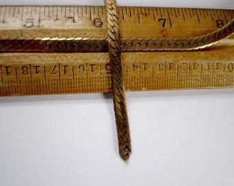 5 feet vintage raw brass flat curb chain 5mm wide - c20