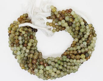 Genuine Green Garnet Faceted Round Gemstone /13 Inch Strand ,Grossular Garnet Faceted Round Beads , 7-8 mm,Semi Precious Gemstone