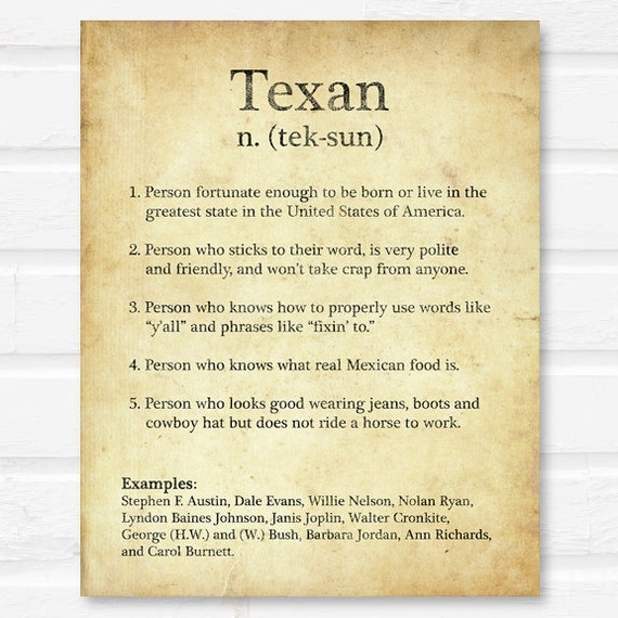 Texan Definition on Dictionary Page brown rustic home wall art
