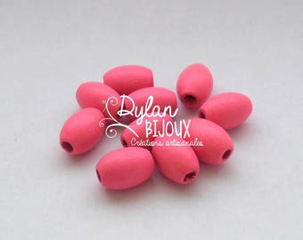 10 oval wooden beads / olive roses 10 x 16 mm
