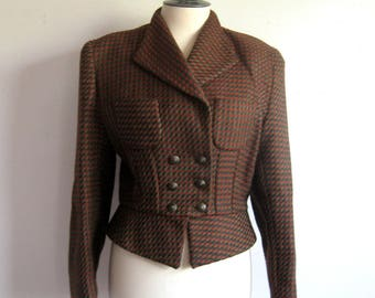 Vintage Tu Ly Late 80s-90s Tu Ly Wool Jacket Russet Gray Check Wool Military Style 1980s Canadian Designer Blazer 8